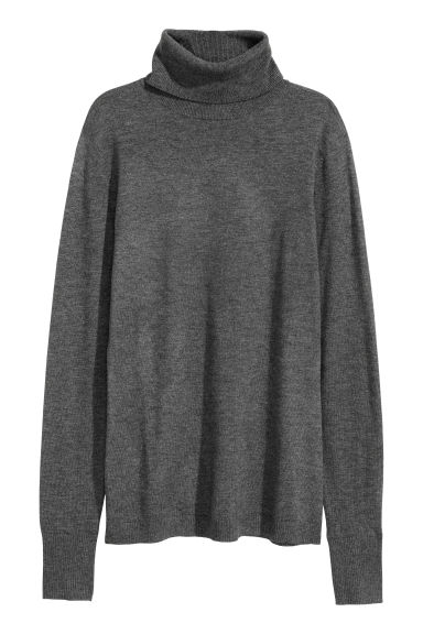Fine-knit polo-neck jumper - Dark grey marl - Ladies | H&M