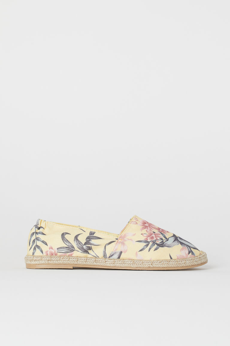 Espadrilles - Light yellow/floral - Ladies | H&M CA