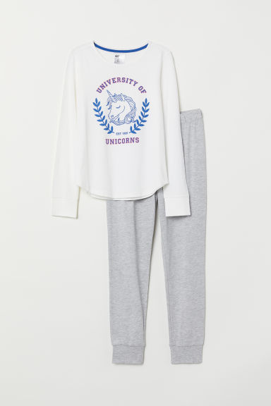 Jersey pyjamas - White/University of Unicorns - Kids | H&M CN