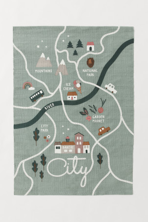 City print cotton rug