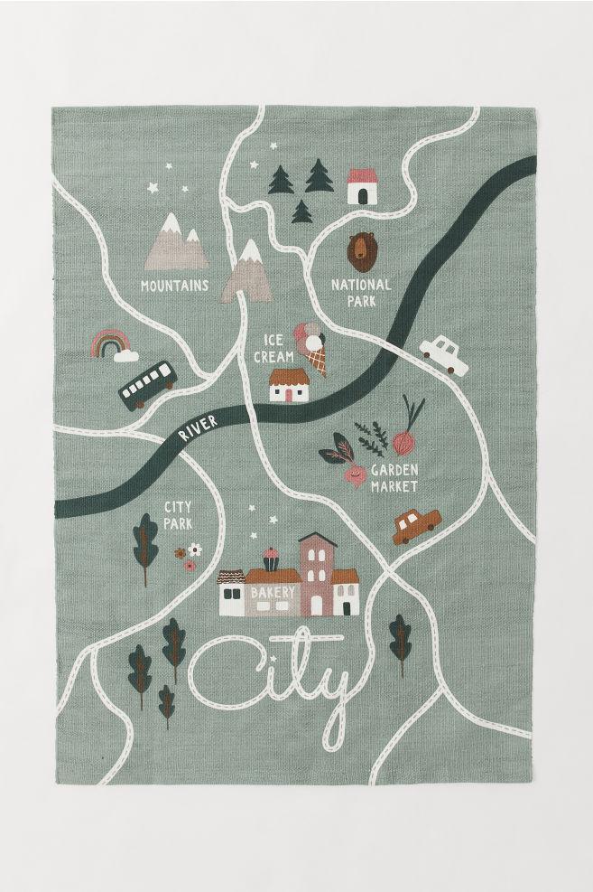 Tapis en coton avec motif - Vert ancien/motif ville - Home All | H&M FR 2