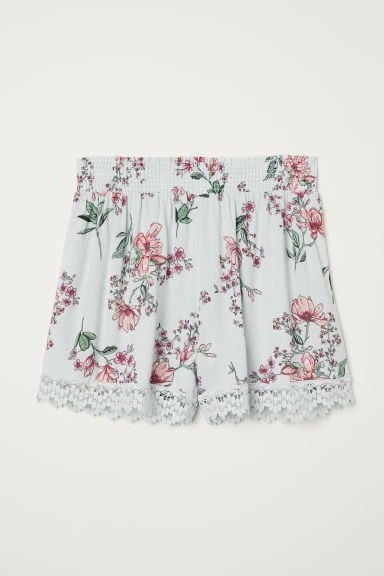 Wide shorts - Light turquoise/Floral - Ladies | H&M