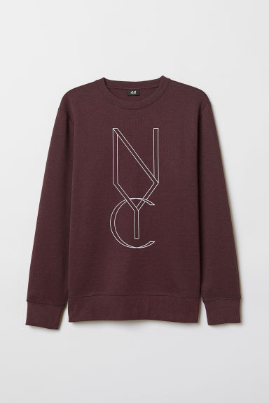 Printed sweatshirt - Dark purple marl/NYC - Men | H&M