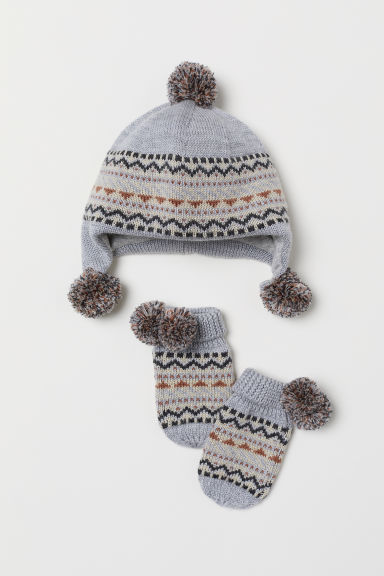 Hat and mittens - Light grey - Kids | H&M