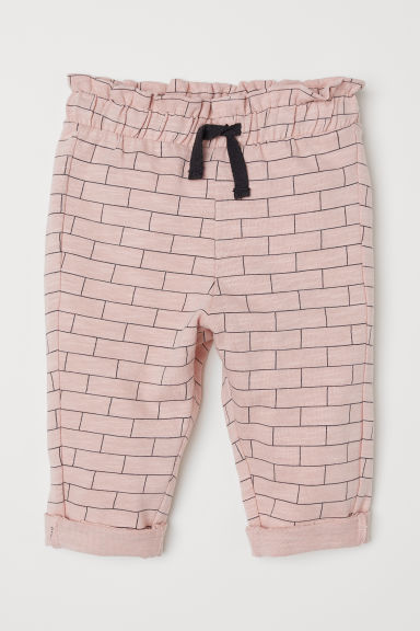 Paper bag trousers - Powder pink/Checked - Kids | H&M