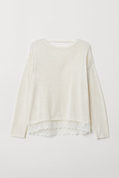 Fine-knit jumper with lace - Natural white - Kids | H&M