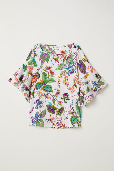 Blouse with flounced sleeves - White/Floral - Ladies | H&M