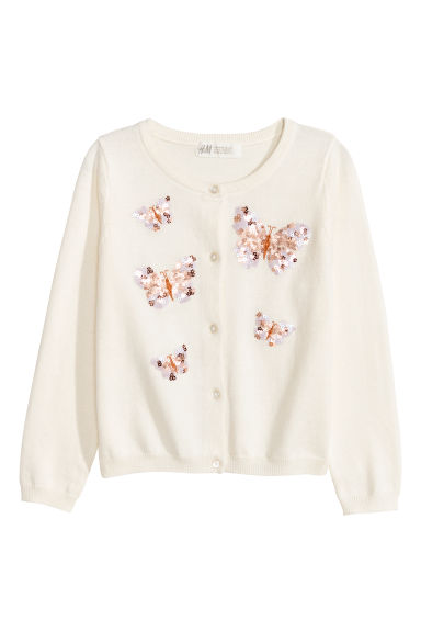 Sequined cotton cardigan - Natural white/Butterflies -  | H&M