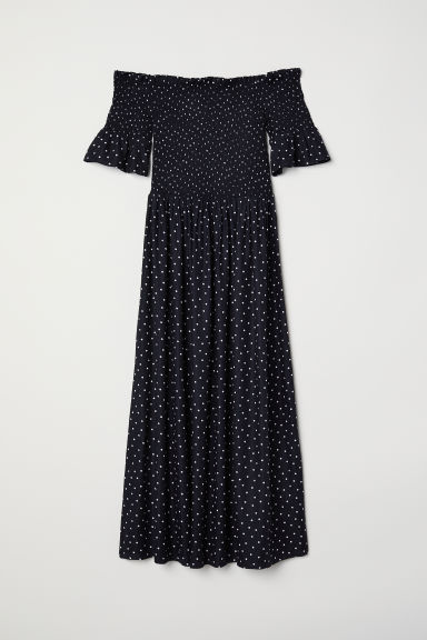 Dress with smocking - Black/Spotted - Ladies | H&M CN