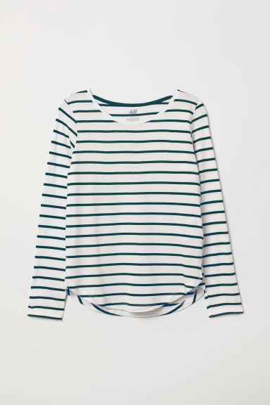 Modal-blend top - Green/White striped - Kids | H&M