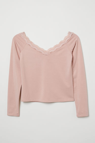 Off-the-shoulder top - Powder pink -  | H&M CN