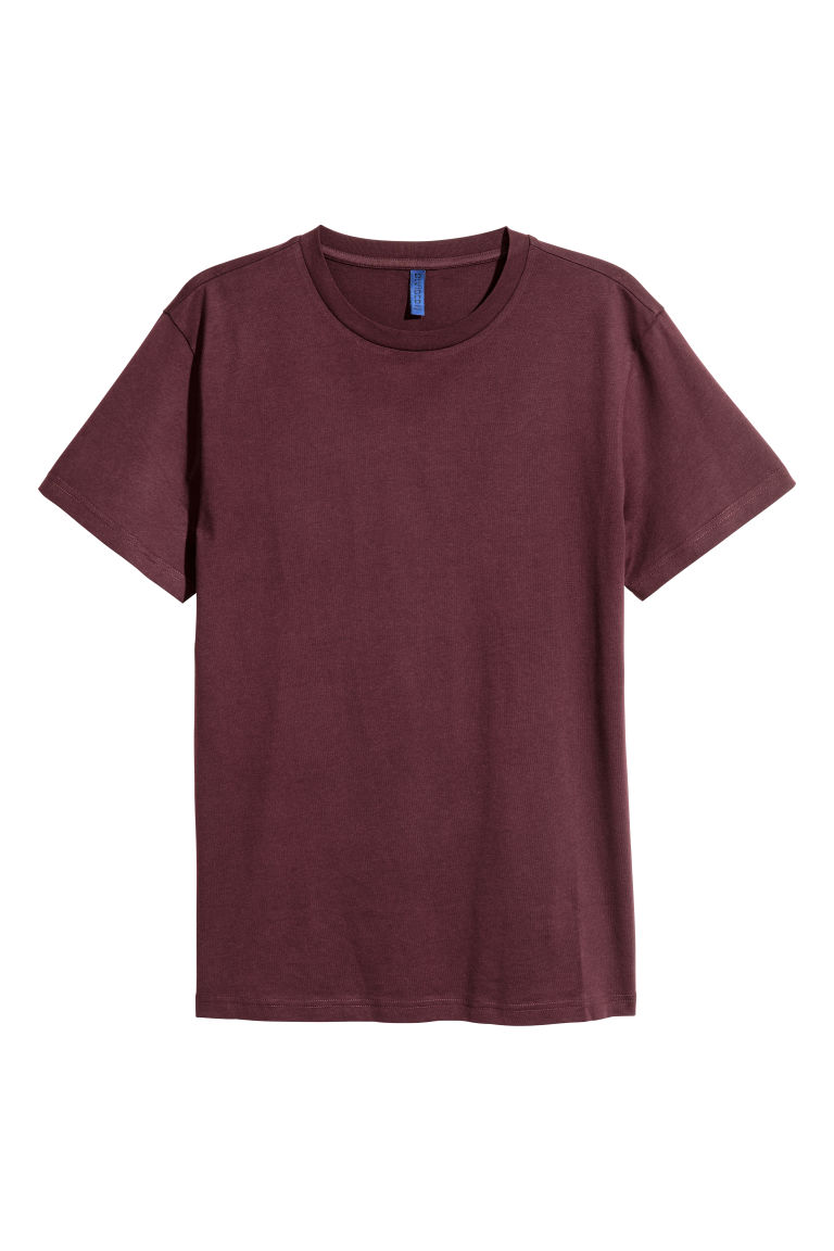 Round-necked T-shirt - Burgundy - Men | H&M GB