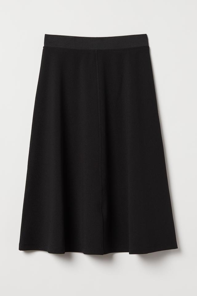 H M Black Textured Leopard Print Box Pleat Knee Length Flare Skirt