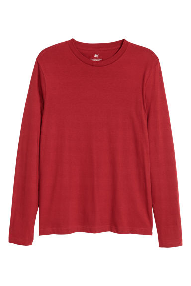 Long-sleeved top Regular fit - Dark red - Men | H&M CN