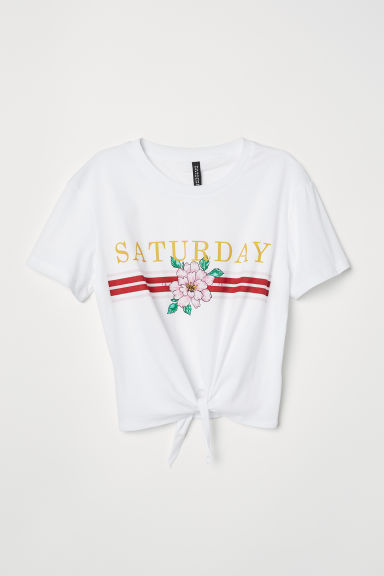T-shirt with a tie - White/Flower -  | H&M GB