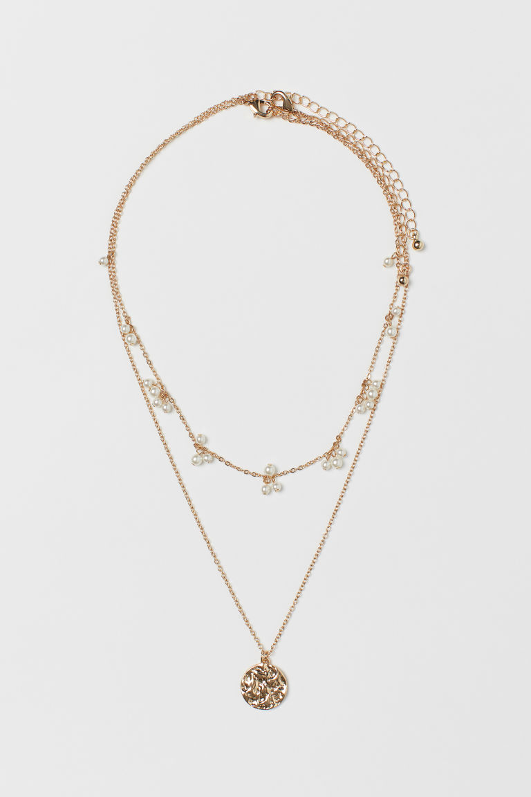 2-pack Necklaces - Gold-colored/white - Ladies | H&M US