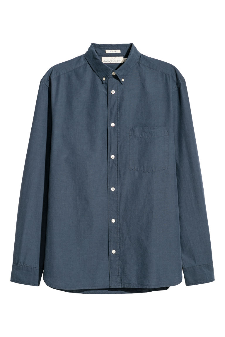 Poplin shirt Regular fit - Dark blue -  | H&M