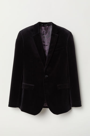 Blazer in velluto Slim fit - Nero - UOMO | H&M IT