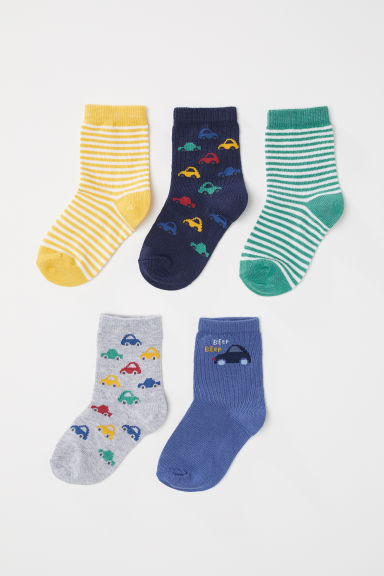 5-pack socks - Light grey marl/Cars - Kids | H&M CN
