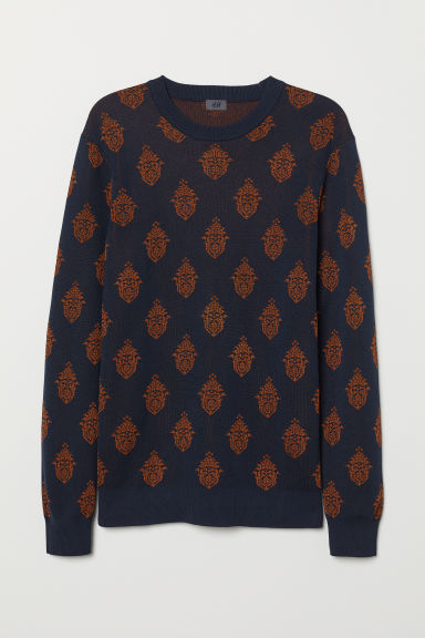 Jacquard-knit jumper - Dark blue/Patterned - Men | H&M
