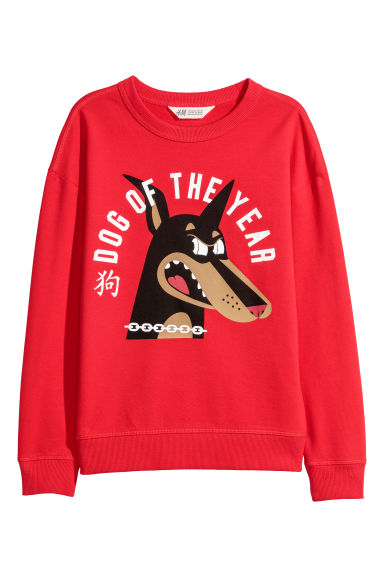 Sweatshirt with a print motif - Red - Kids | H&M CN