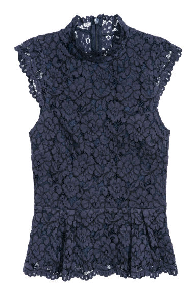 Lace top - Dark blue - Ladies | H&M