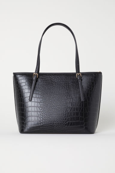Handbag - Black/grained - Ladies | H&M US