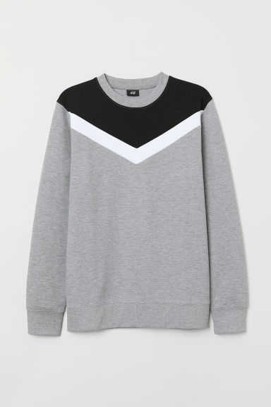 Block-patterned sweatshirt - Grey marl/Block-patterned - Men | H&M