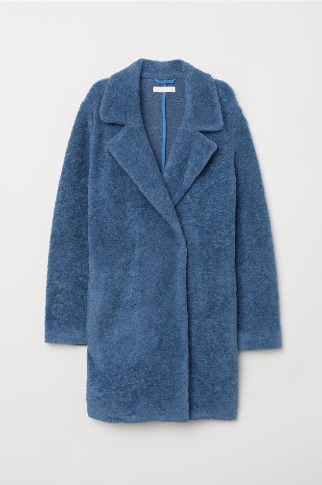 48549147f39a Pletený kabát - modrá - ŽENY