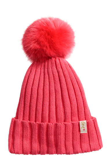Ribbed hat - Coral - Kids | H&M