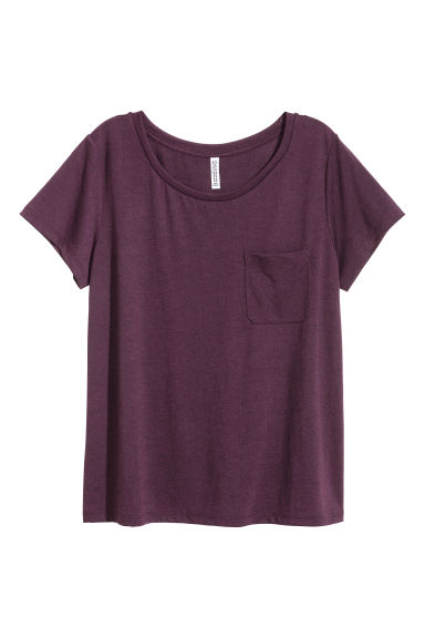 T-shirt with a chest pocket - Dark purple - Ladies | H&M CN
