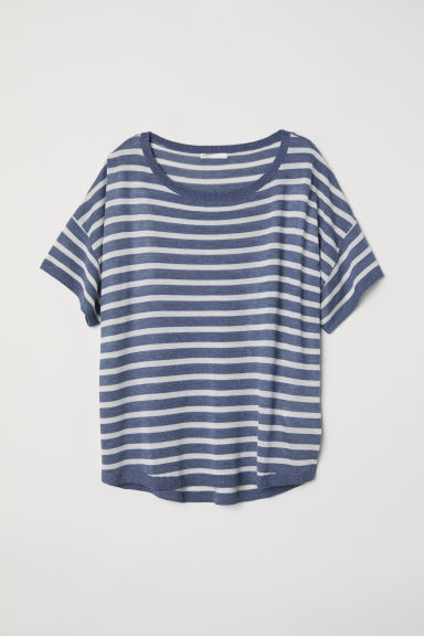 Fine-knit top - Blue/White striped - Ladies | H&M
