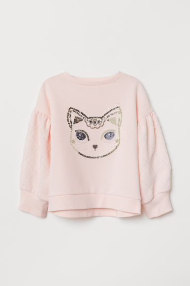 Top with sequins - Light pink/Cat - Kids | H&M