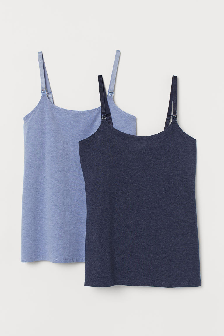 MAMA 2-pack nursing tops - Dark blue/Light blue - Ladies | H&M GB