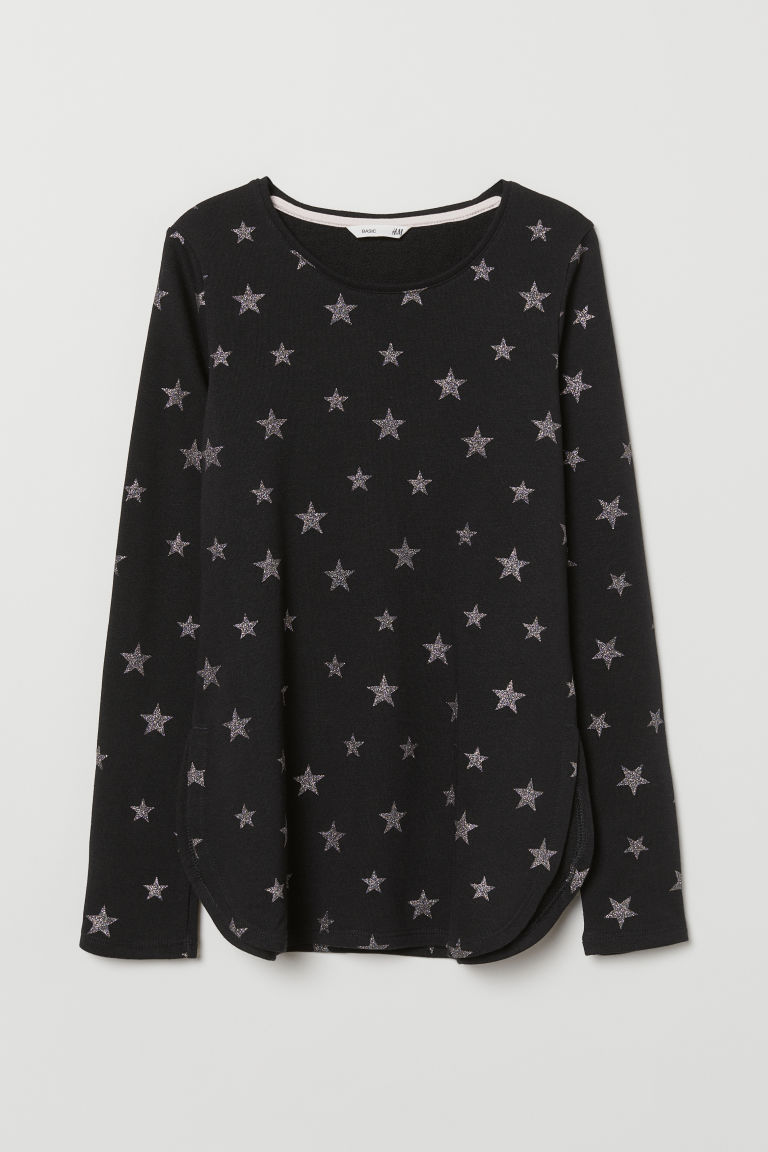 Sweatshirt - Black/Stars - Kids | H&M CN