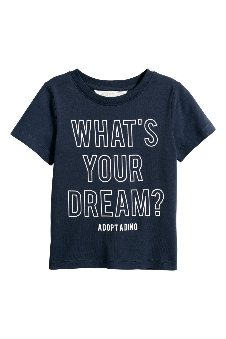 T-shirt met print - Donkerblauw/What's your dream - KINDEREN | H&M BE