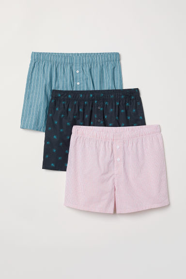 3-pack woven boxer shorts - Green/Multicoloured - Men | H&M CN