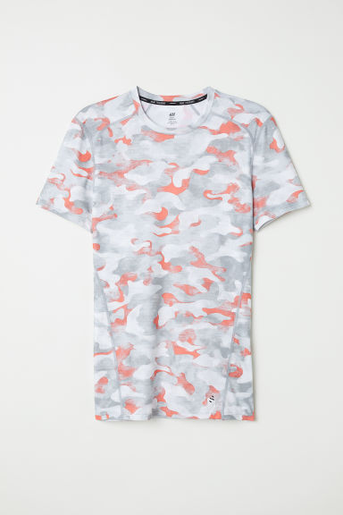 Short-sleeved sports top - Grey/Patterned - Men | H&M