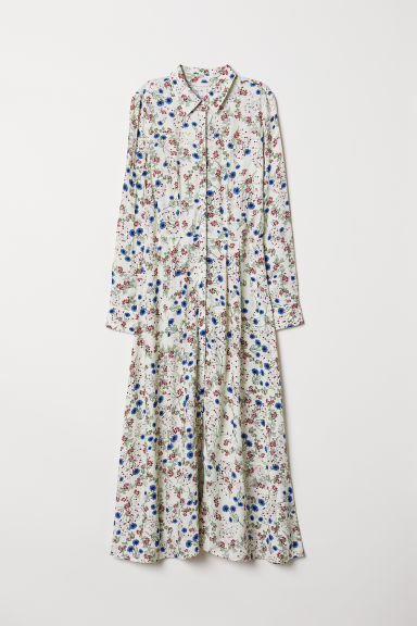 Patterned long dress - Natural white/Floral - Ladies | H&M CN
