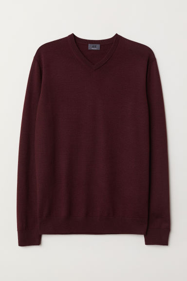 V-neck merino wool jumper - Burgundy - Men | H&M CN