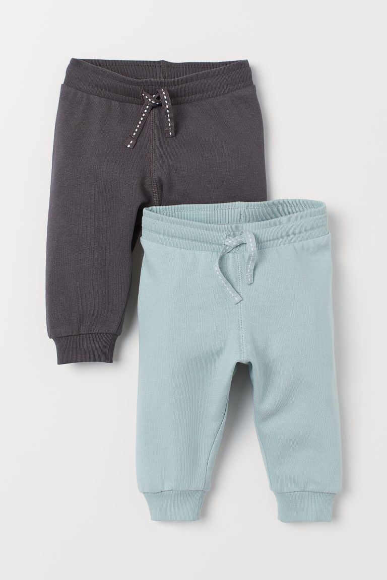2-pack cotton joggers - Light turquoise/Dark grey - Kids | H&M IN