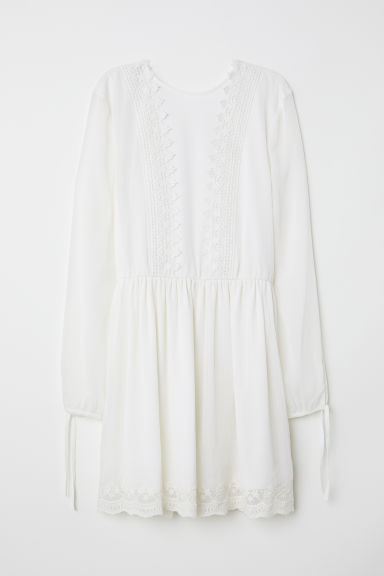 Chiffon dress with lace - White -  | H&M CN
