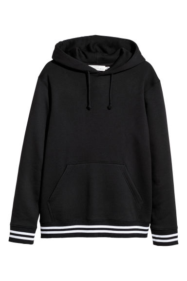 Hooded top with a motif - Black/White - Men | H&M