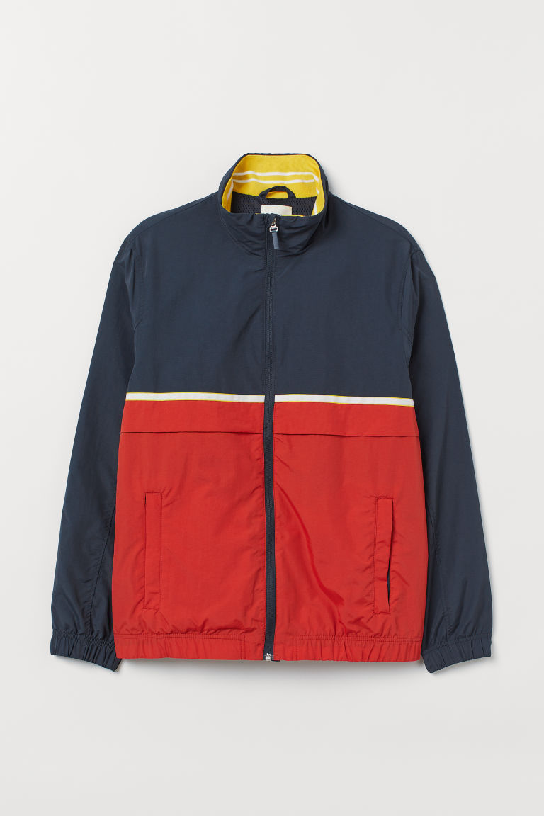 Jacket with a stand-up collar - Dark blue/Red - Men | H&M CN