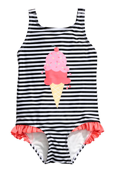 Patterned swimsuit - Black/Striped - Kids | H&M