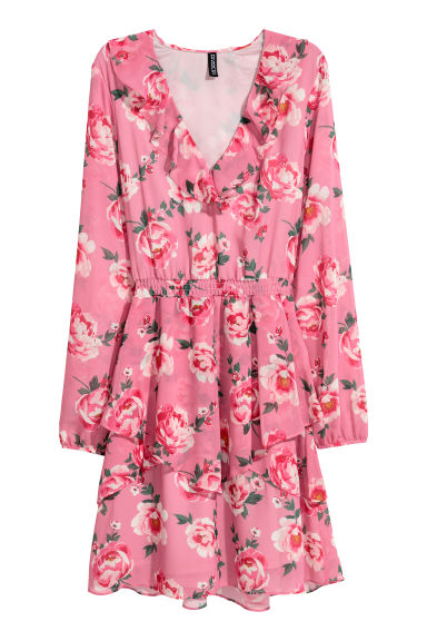 Chiffon dress with flounces - Pink/Floral -  | H&M IE