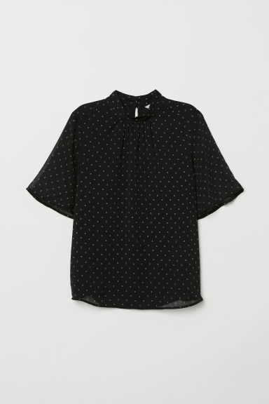 Crinkled top - Black/Patterned -  | H&M