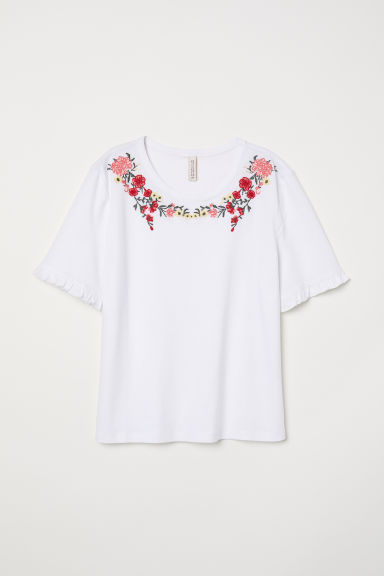 T-shirt with embroidery - White/Floral - Ladies | H&M CN