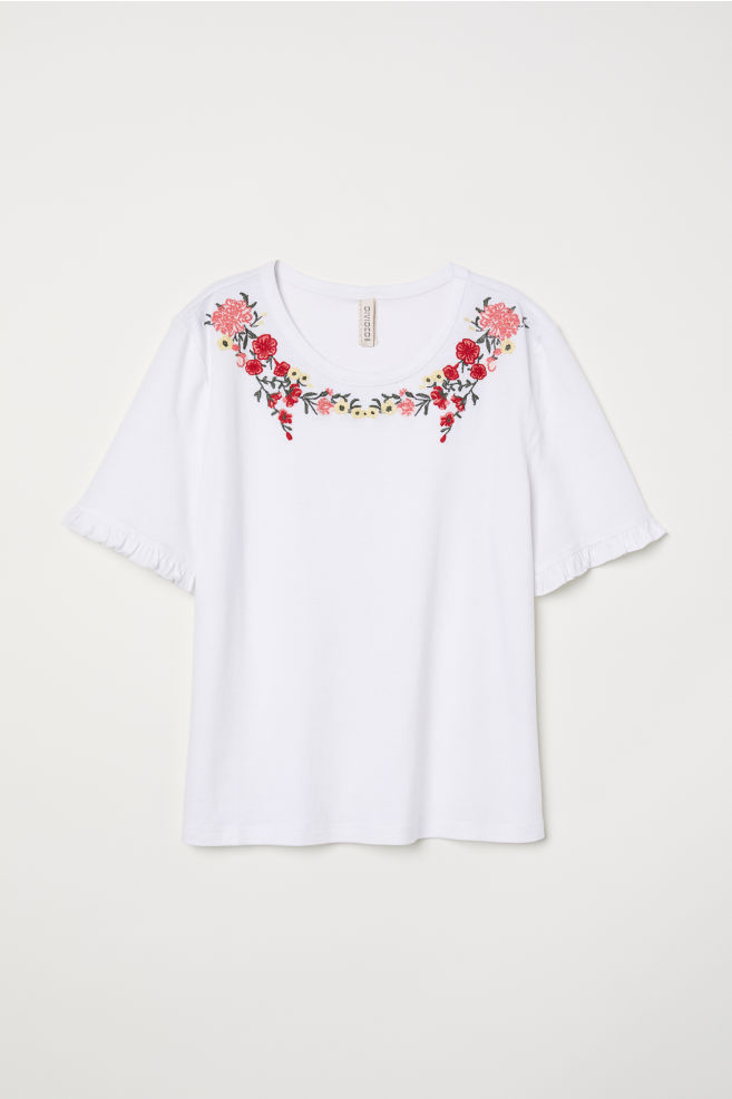 T Shirt With Embroidery Whitefloral Ladies Hm Us