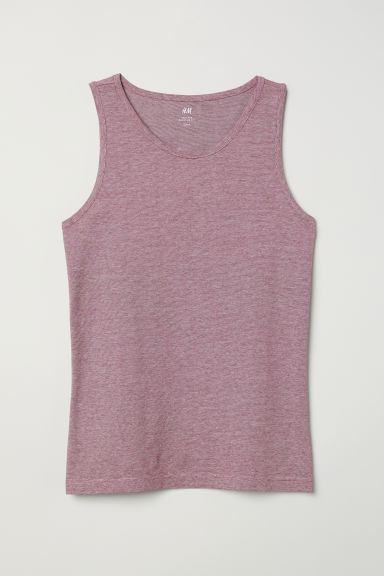 Cotton jersey vest top - Dark red/Striped - Men | H&M CN